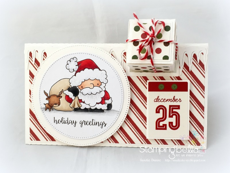 www.stampingbella.com :RUBBER STAMP FEATURED: THE LITTLES SANTA'S LOOT. Card by Sandie Dunne