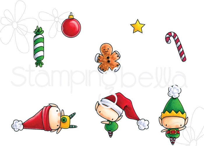 www.stampingbella.com :RUBBER STAMP FEATURED: LITTLE BITS SET OF ELVES