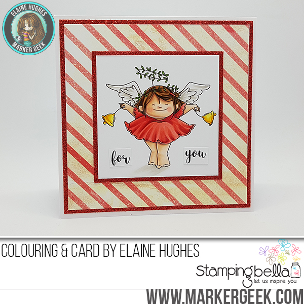 Stamping Bella RUBBER STAMPS: Stamps used: SQUIDGY ANGEL ORNAMENT and BELLS set card by Elaine Hughes