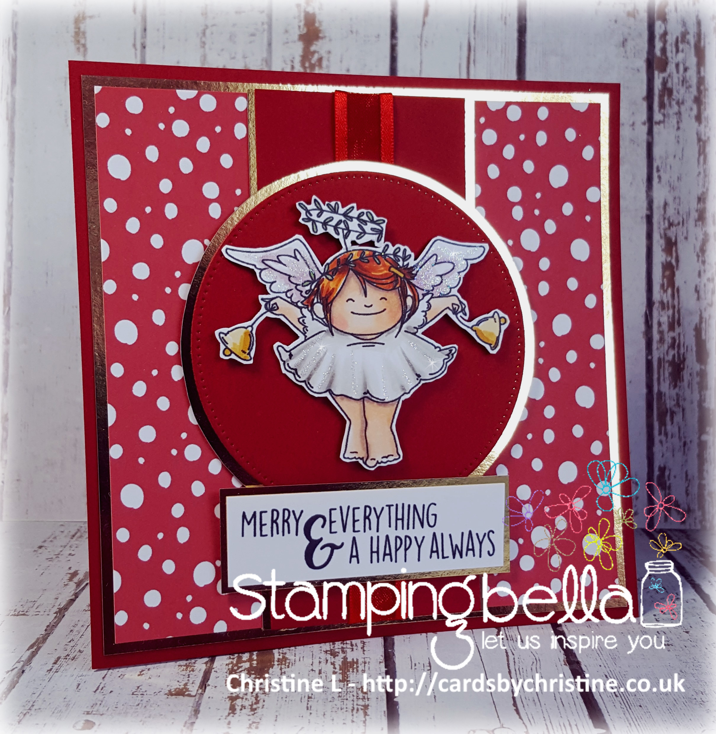 Stamping Bella RUBBER STAMPS: Stamps used: SQUIDGY ANGEL ORNAMENT and BELLS set card by Christine Levison