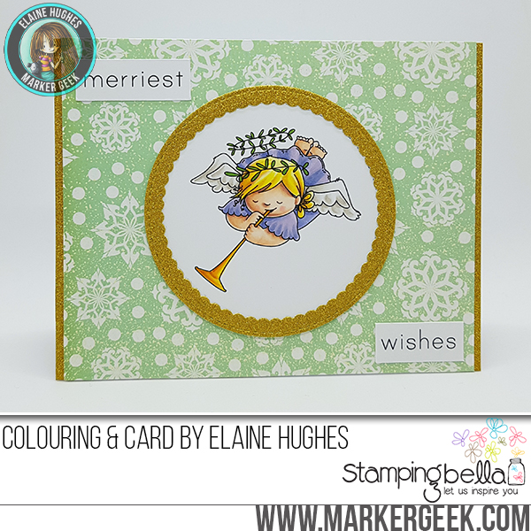 Stamping Bella RUBBER STAMPS: Stamps used: SQUIDGY ANGELS CURTSY and TRUMPET set CARD by Elaine Hughes