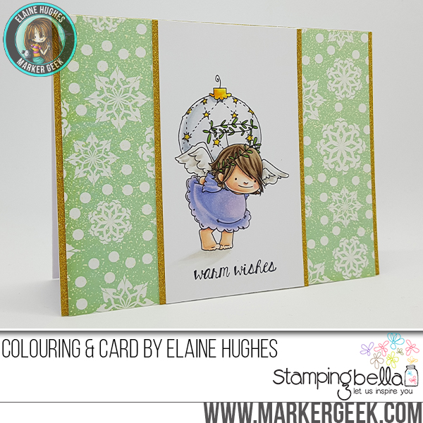 Stamping Bella RUBBER STAMPS: Stamps used: SQUIDGY ANGEL ORNAMENT and BELLS set Card made by Elaine Hughes