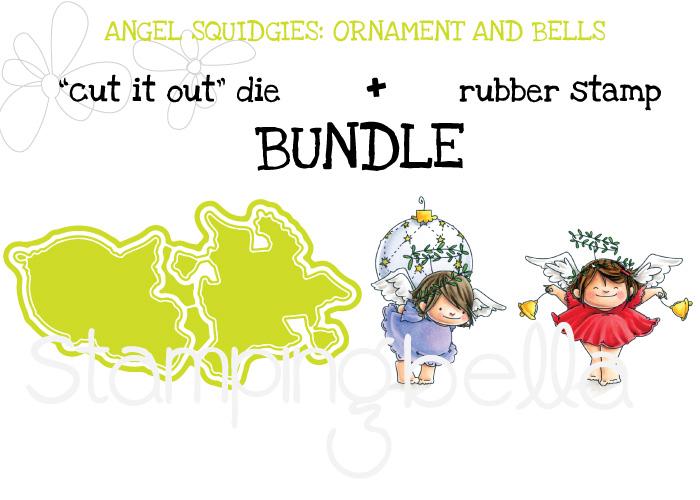 STAMPING BELLA BUNDLES: ANGEL SQUIDGIES ORNAMENT and BELLS