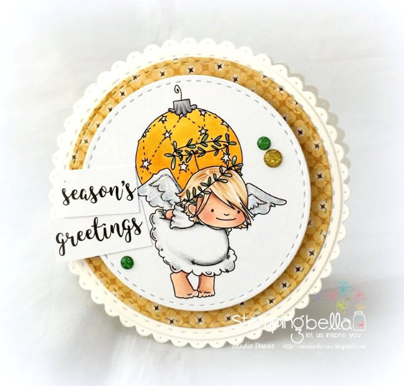 www.stampingbella.com: rubber stamp used: ANGEL SQUIDGIES ORNAMENT and BELL SET, card made by Sandie Dunner