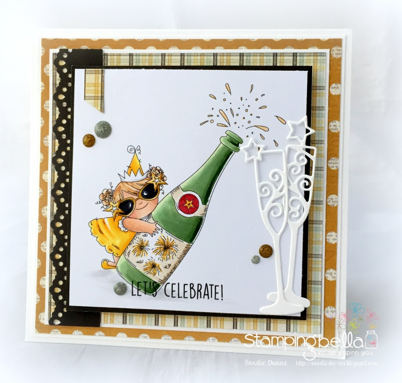 Stamping Bella RUBBER STAMPS: Stamps used: CELEBRATING SQUIDGY. Card by Sandie Dunne
