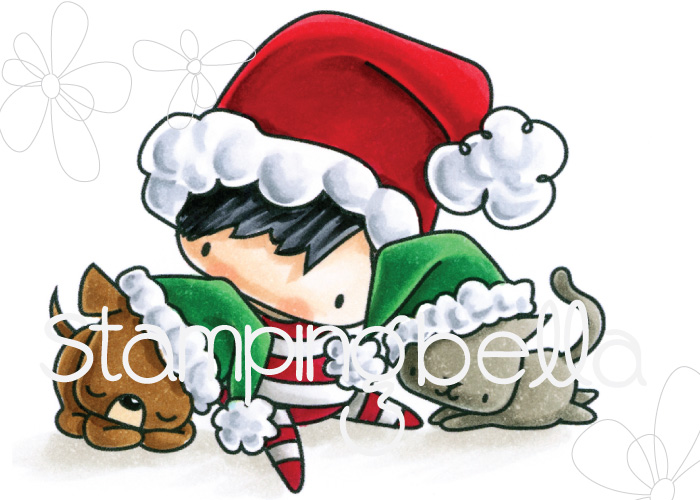 STAMPING BELLA RUBBER STAMP: LITTLES CHRISTMAS BOY WITH PETS