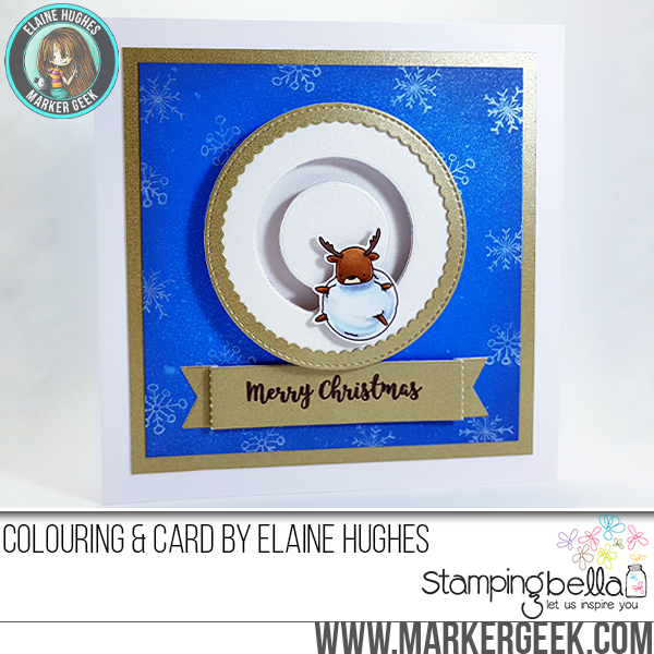 Stamping bella rubber stamps used: LITTLE BITS WINTER TREE and DEERBALL Card by Elaine HUGHES