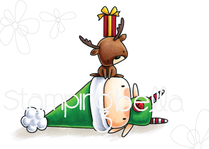 www.stampingbella.com : Rubber stamp called THE LITTLES ELF with a REINDEER on TOP