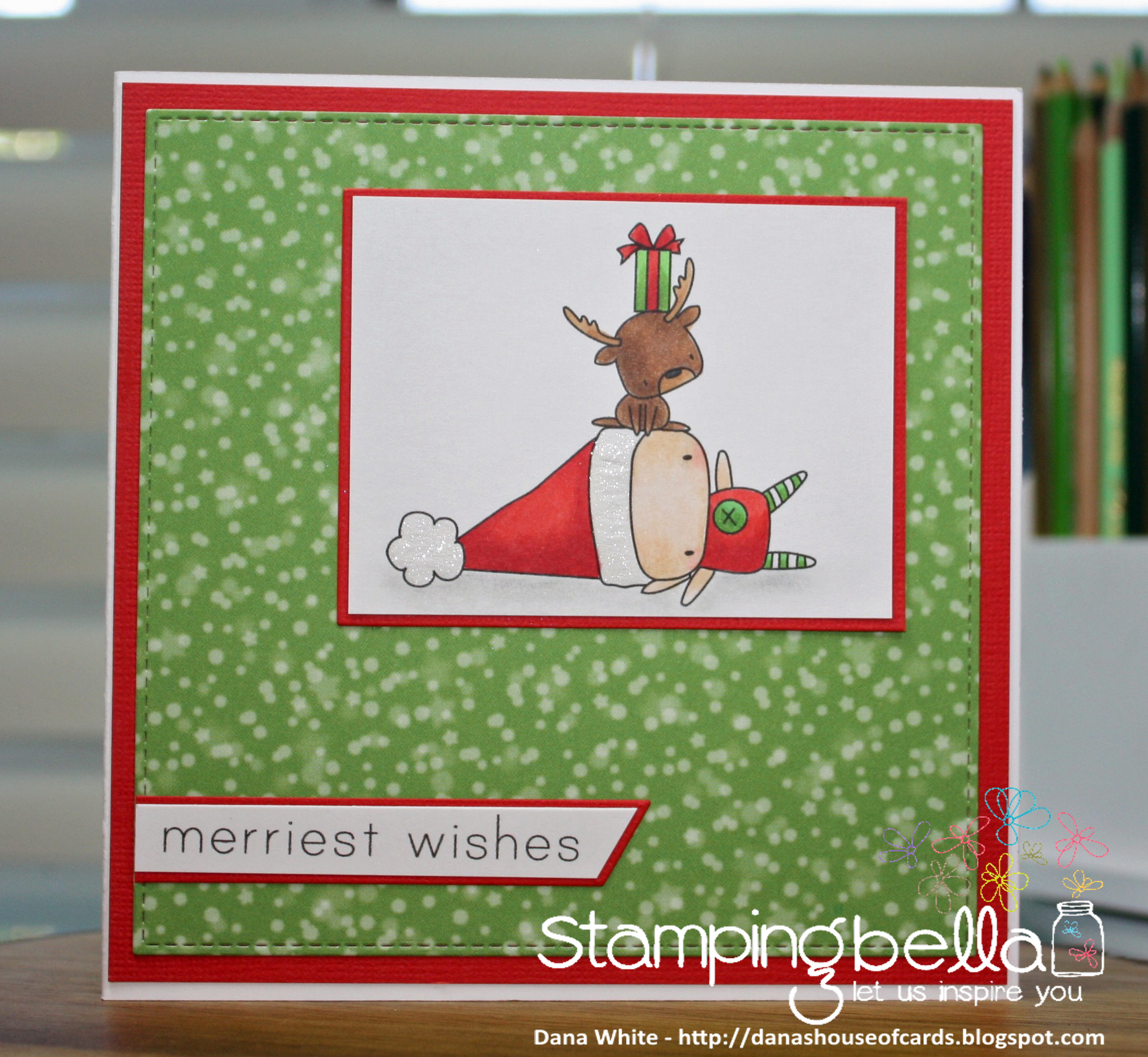 www.stampingbella.com : Rubber stamp called THE LITTLES ELF with a REINDEER on TOP card by Dana White
