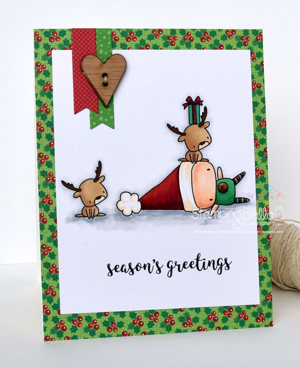 www.stampingbella.com : Rubber stamp called THE LITTLES ELF with a REINDEER on TOP and the extra Reindeer is from LITTLE BITS SANTAS GIFTS card by Michele Boyer
