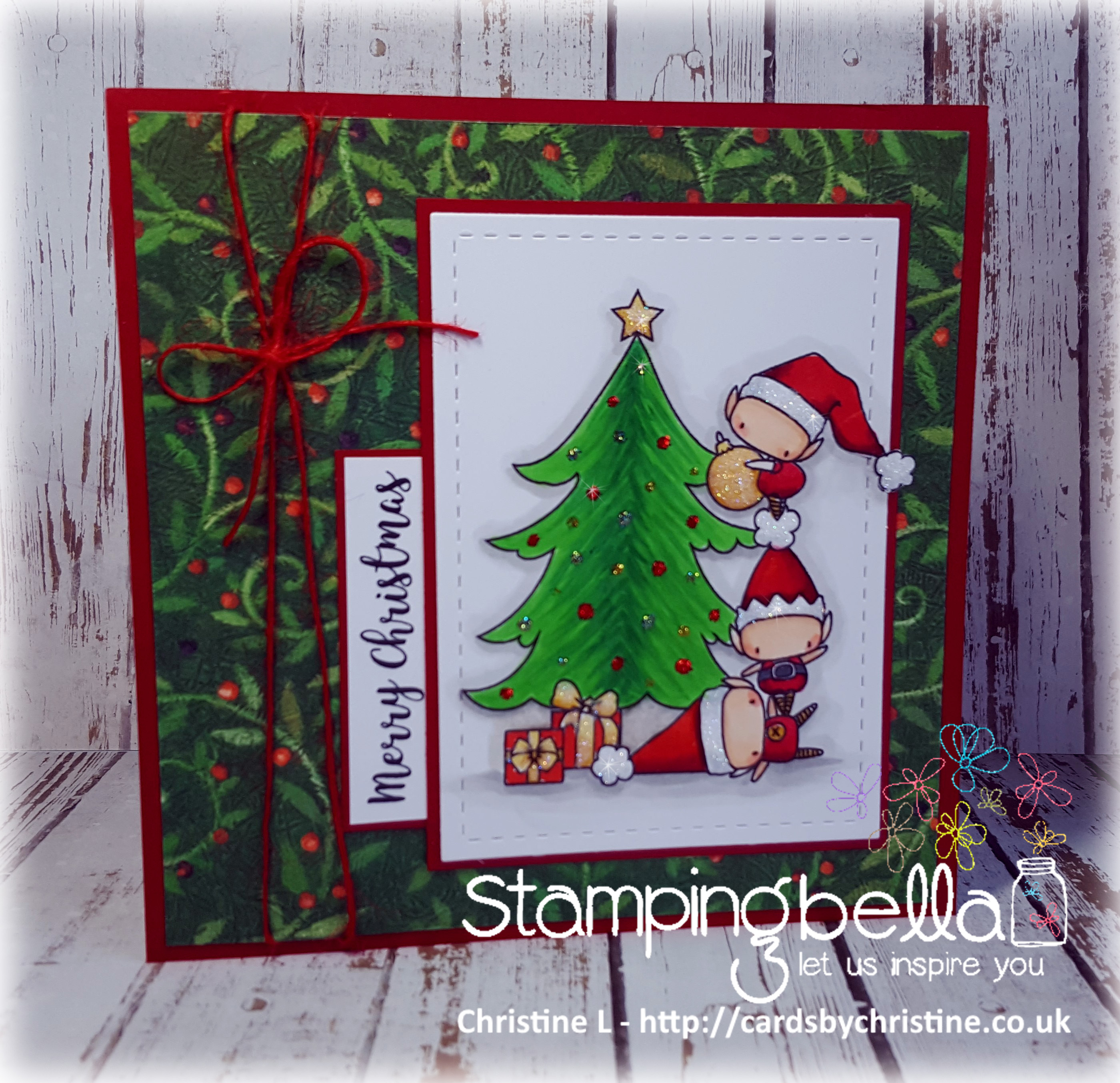Stamping Bella WINTER/CHRISTMAS 2017 RELEASE: RUBBER STAMP USED: The LITTLES TRIMMING the TREE, card by Christine Levison