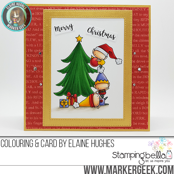 Stamping Bella WINTER/CHRISTMAS 2017 RELEASE: RUBBER STAMP USED: The LITTLES TRIMMING the TREE, card by Elaine Hughes