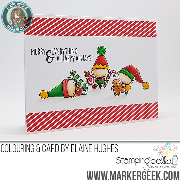 Stamping Bella WINTER/CHRISTMAS 2017 RELEASE: RUBBER STAMP USED:THE LITTLES ELVES with TREATS, card by Elaine Hughes