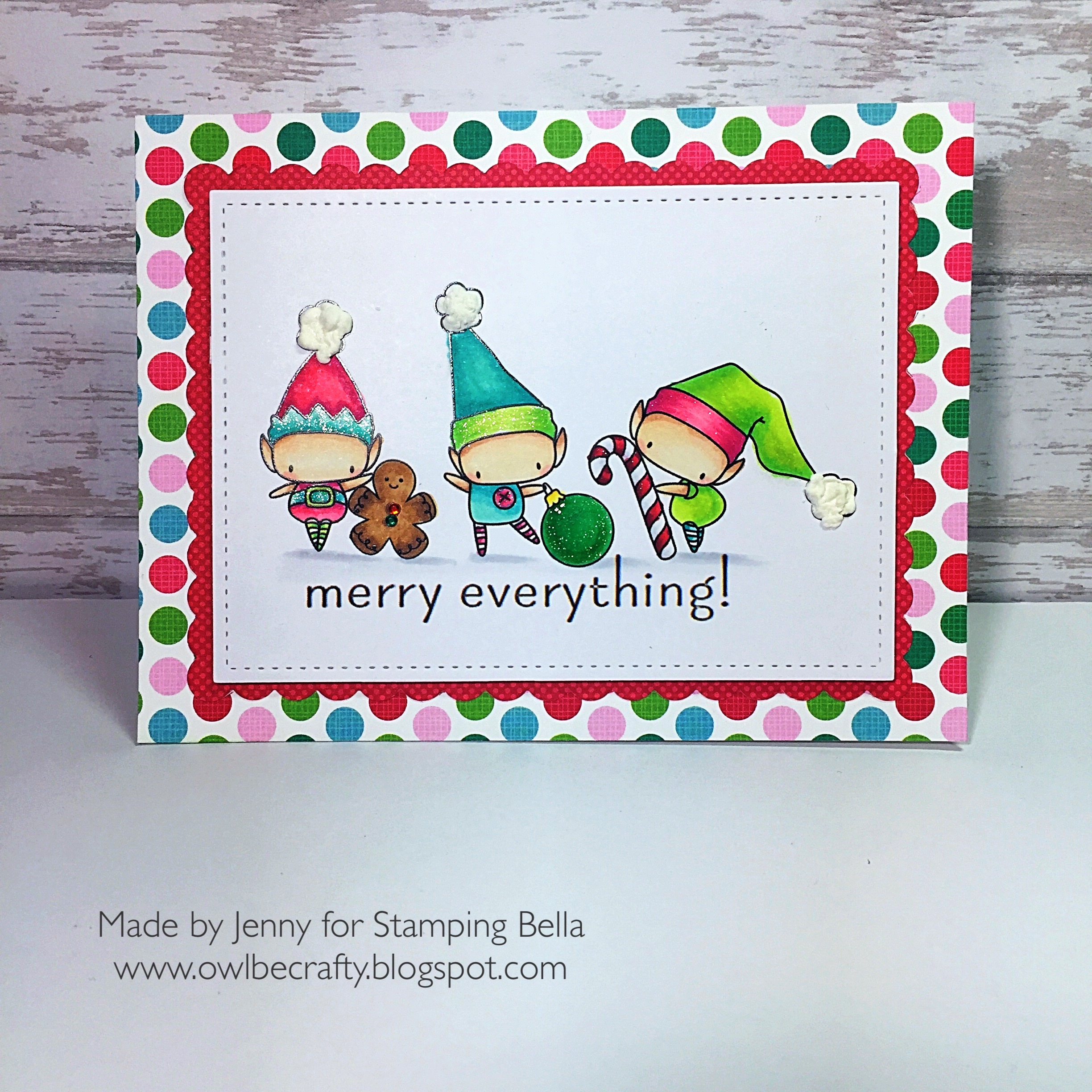 www.stampingbella.com :RUBBER STAMP FEATURED: LITTLE BITS SET OF ELVES card by Jenny Bordeaux