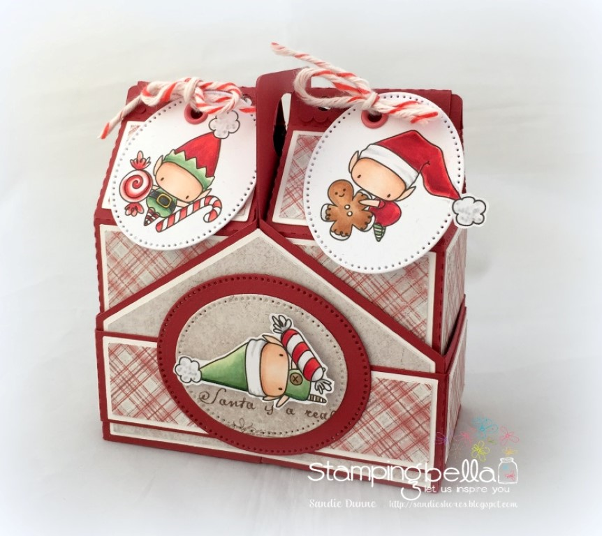 Stamping Bella WINTER/CHRISTMAS 2017 RELEASE: RUBBER STAMP USED:THE LITTLES ELVES with TREATS, treat box by Sandie Dunne