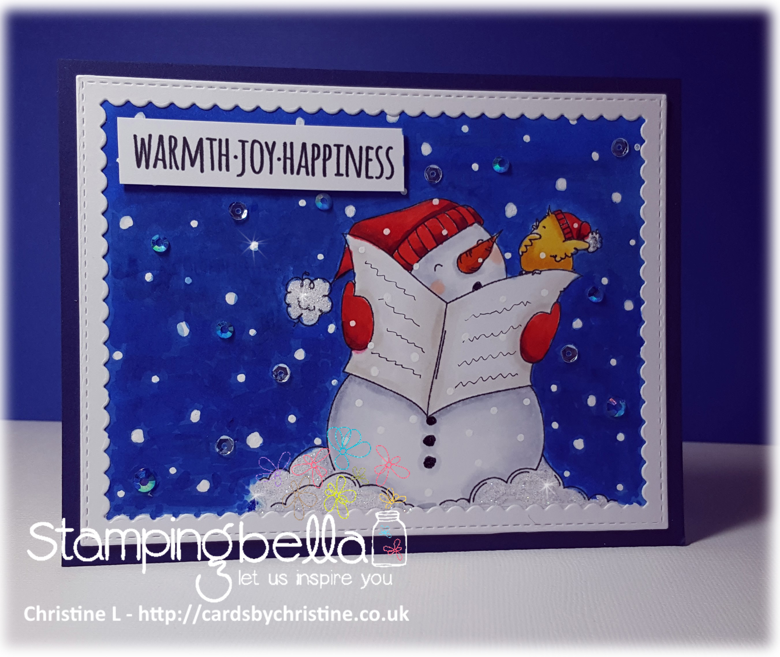 www.stampingbella.com: RUBBER STAMP FEATURED: FALALA and HOLIDAY SENTIMENT SET card by Christine Levison