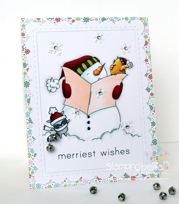 www.stampingbella.com: RUBBER STAMP FEATURED: FALALA and the raccoon from LITTLE BITS SLEDDING SET and HOLIDAY SENTIMENT SET card by Michele Boyer