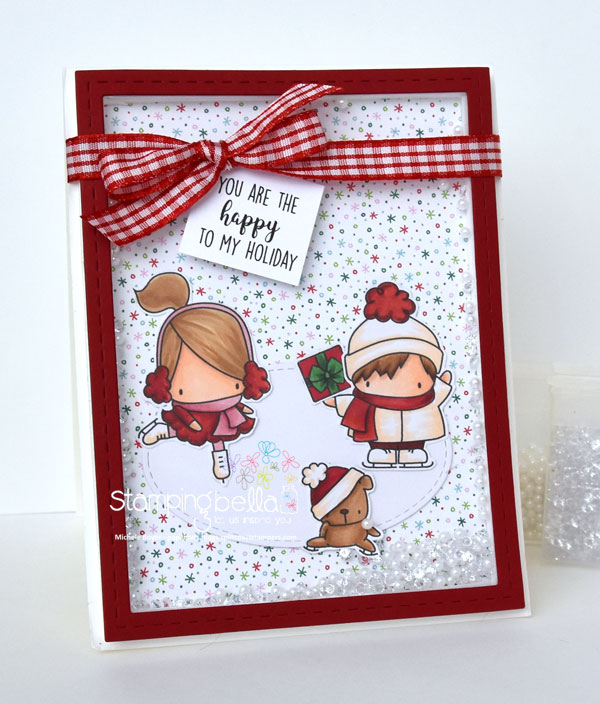 Stamping bella rubber stamps used: LITTLE BITS FIGURE SKATERS, HOLIDAY SENTIMENT SET and SKATING QUARTET. Card by Michele Boyer