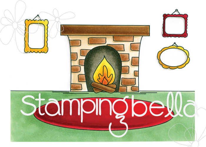 STAMPING BELLA RUBBER STAMP: FIREPLACE BACKDROP