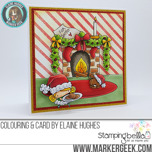 STAMPING BELLA HOLIDAY 2017 RELEASE: RUBBER STAMPS USED: FIREPLACE BACKDROP, SANTA'S MANTLE, SANTAS SNACKS, SANTA KIDS AND PETS, WAITING FOR SANTA sets CARD BY Elaine Hughes