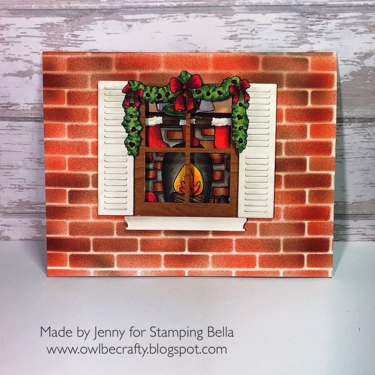 STAMPING BELLA HOLIDAY 2017 RELEASE: RUBBER STAMPS USED: FIREPLACE BACKDROP, LITTLE BITS SANTA'S MANTLE SET CARD BY JENNY BORDEAUX