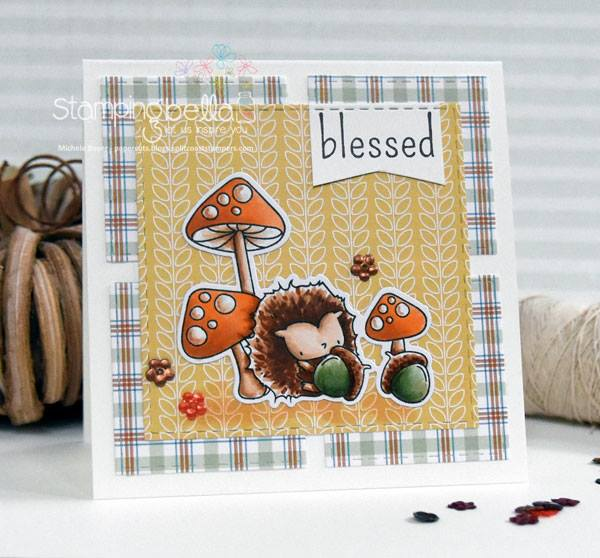 www.stampingbella.com- RUBBER STAMPS used:THE LITTLES HEDGIE and his ACORNS, card made by MICHELE BOYER