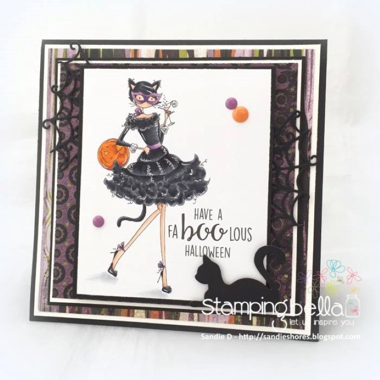 Stamping Bella RUBBER STAMPS: Stamp USED: UPTOWN GIRL KITTY LOVES HALLOWEEN, card by Sandie Dunne