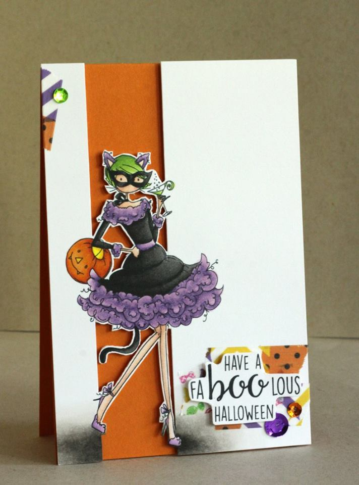 "Stamping Bella RUBBER STAMPS: Stamp and ""CUT IT OUT"" DIE USED: UPTOWN GIRL KITTY LOVES HALLOWEEN, card by ALICE WERTZ"