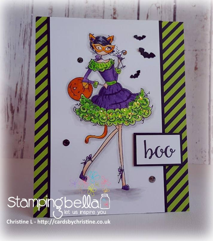 Stamping Bella RUBBER STAMPS: Stamp USED: UPTOWN GIRL KITTY LOVES HALLOWEEN, card by CHRISTINE LEVISON