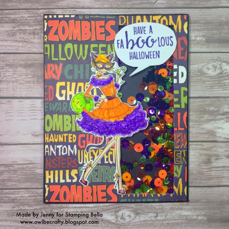 Stamping Bella RUBBER STAMPS: Stamp USED: UPTOWN GIRL KITTY LOVES HALLOWEEN, card by Jenny Bordeaux
