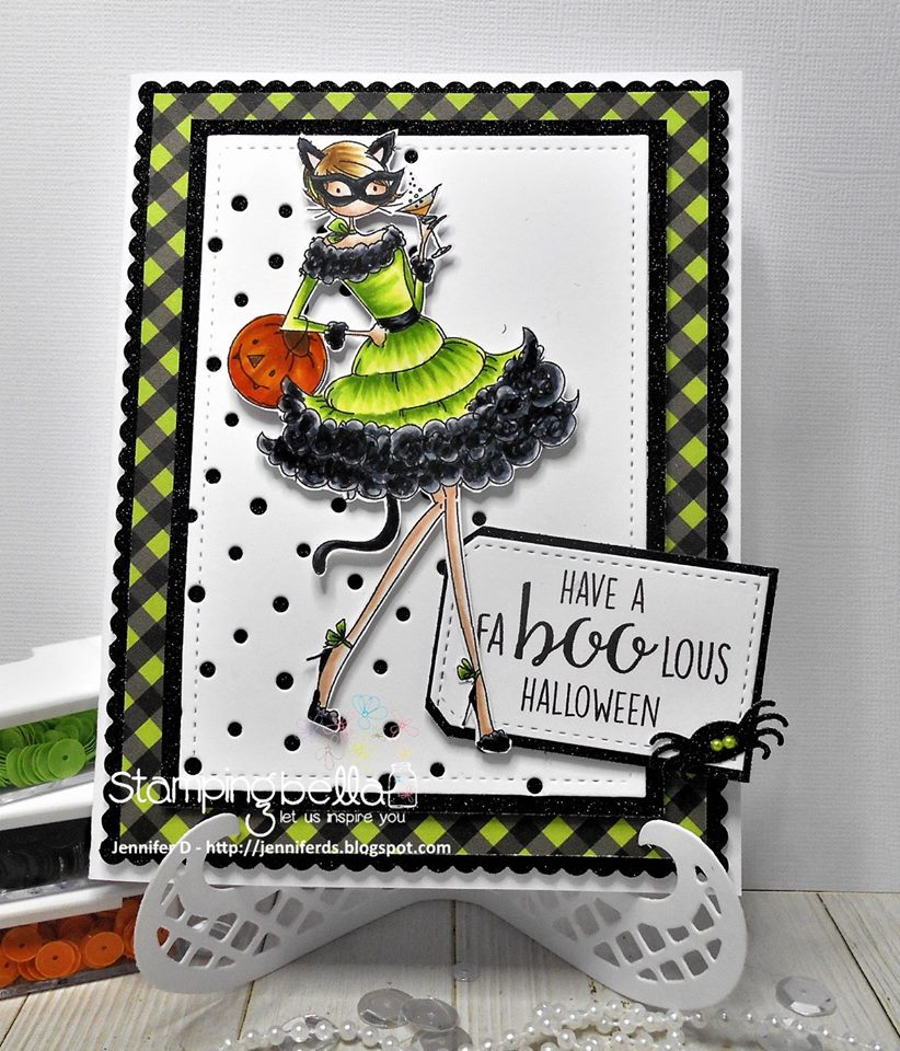 Stamping Bella RUBBER STAMPS: Stamp USED: UPTOWN GIRL KITTY LOVES HALLOWEEN, card by Jenny Dix