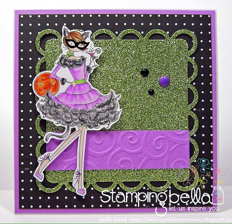 Stamping Bella RUBBER STAMPS: Stamp USED: UPTOWN GIRL KITTY LOVES HALLOWEEN, card by Leslie good