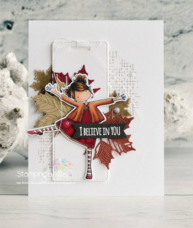 stamping bella rubber stamps: tiny townie Layla loves Leaves, card by Inge Groot