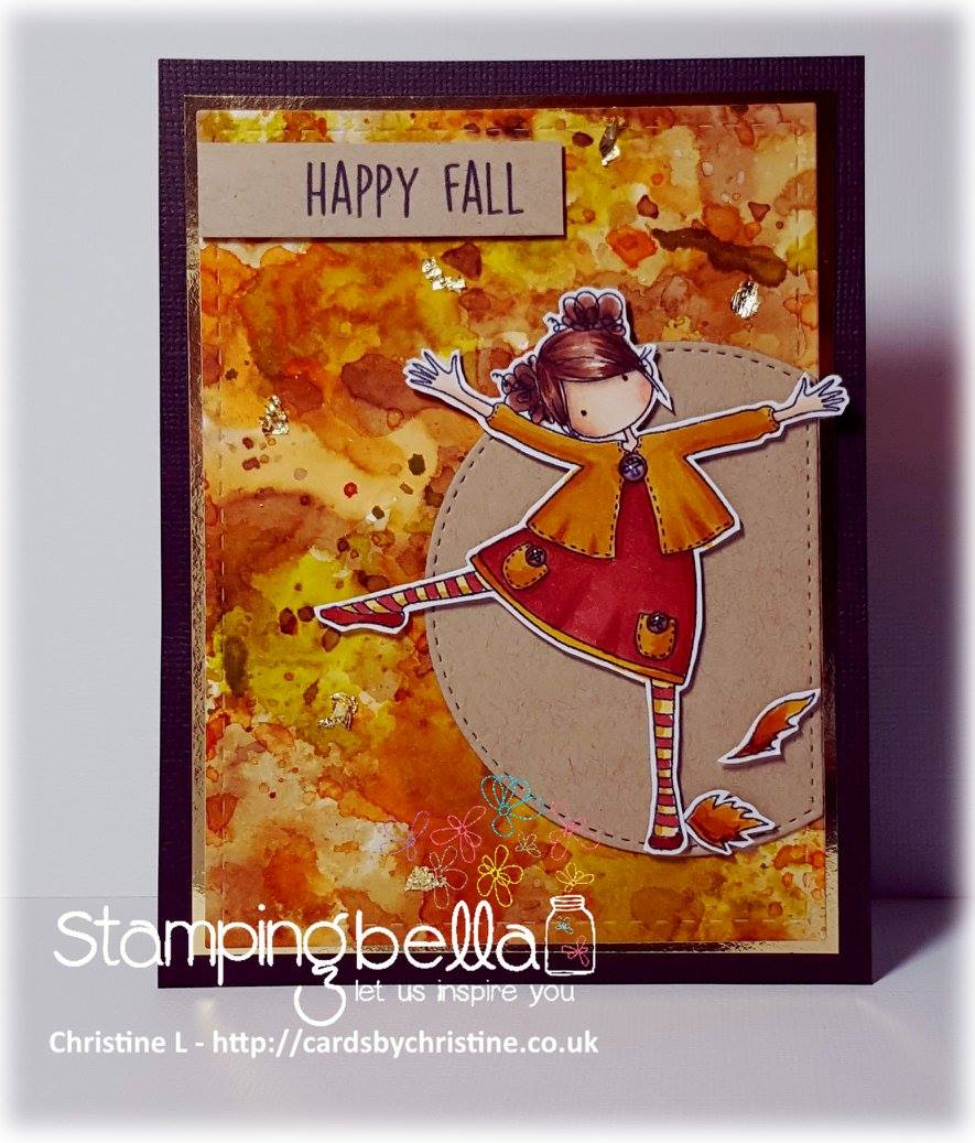 stamping bella rubber stamps: tiny townie LAYLA loves LEAVES, card by Christine Levison