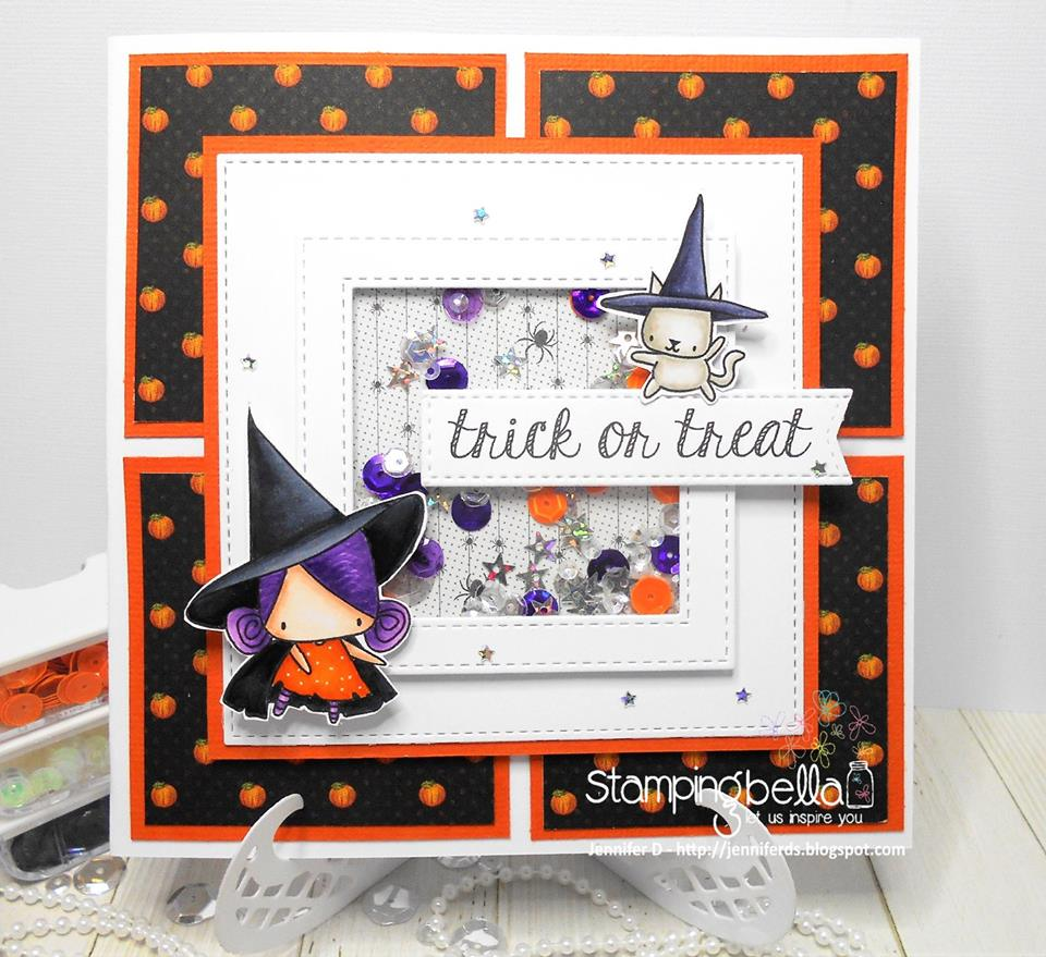 www.stampingbella.com- RUBBER STAMPS used:LITTLE BITS LITTLE WITCHIES, card made by JENNY DIX