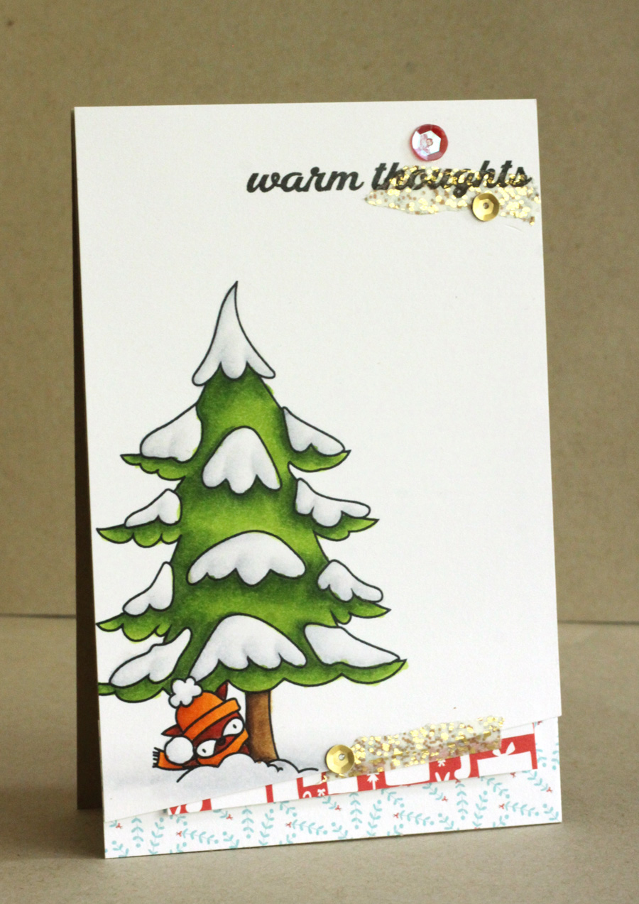 Stamping bella rubber stamps used:THE LITTLES MISTER RACCOON and the WINTER TREE, card by Al,ice Wertz