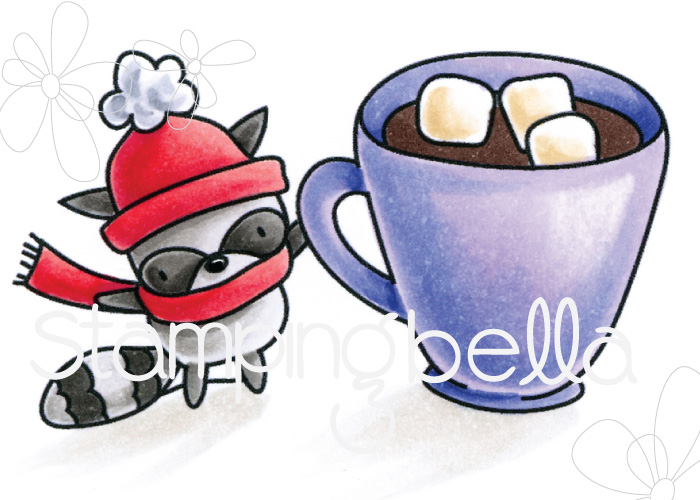 Stamping Bella WINTER/CHRISTMAS 2017 RELEASE: RUBBER STAMP MISTER RACCOON loves HOT CHOCOLATE
