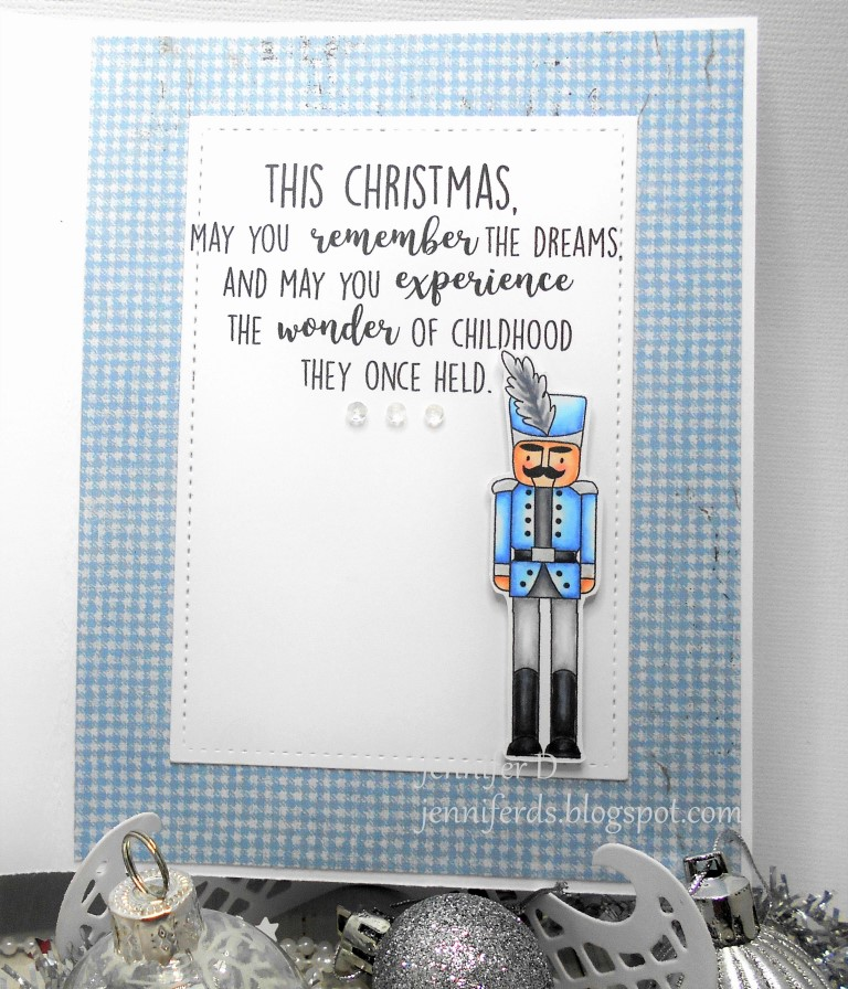 www.stampingbella.com : Rubber stamp called TINY TOWNIE NATALIE and the NUTCRACKER card by Jenny Dix
