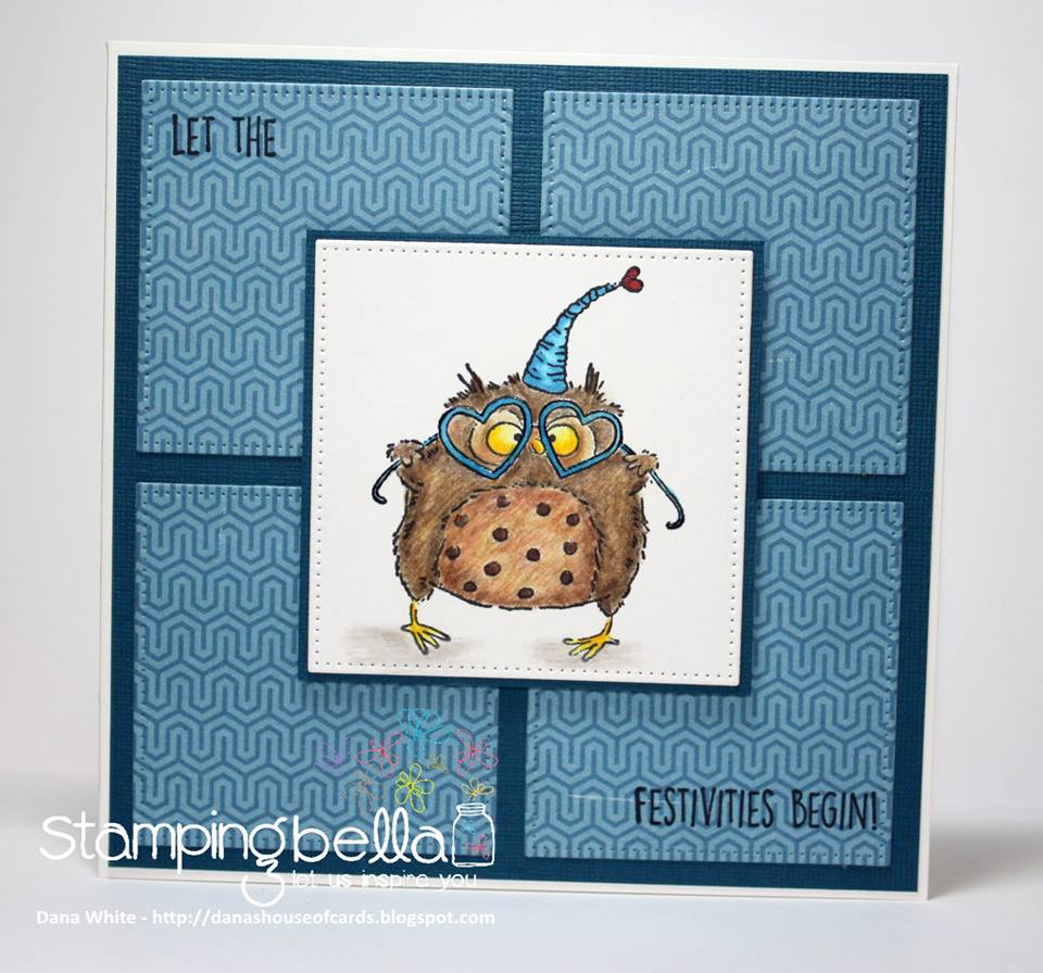 www.stampingbella.com- RUBBER STAMPS used: OWLIVER LOVES TO CELEBRATE, card made by DANA WHITE