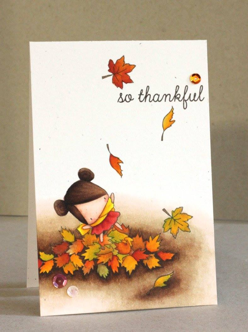 stamping bella rubber stamps: LITTLE BITS PLAYING IN THE LEAVES Card by Alice Wertz