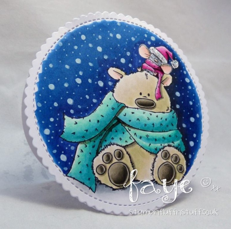 www.stampingbella.com: rubber stamp used: POLAR BEAR AND MOUSIE, card made by FAYE WYNN JONES