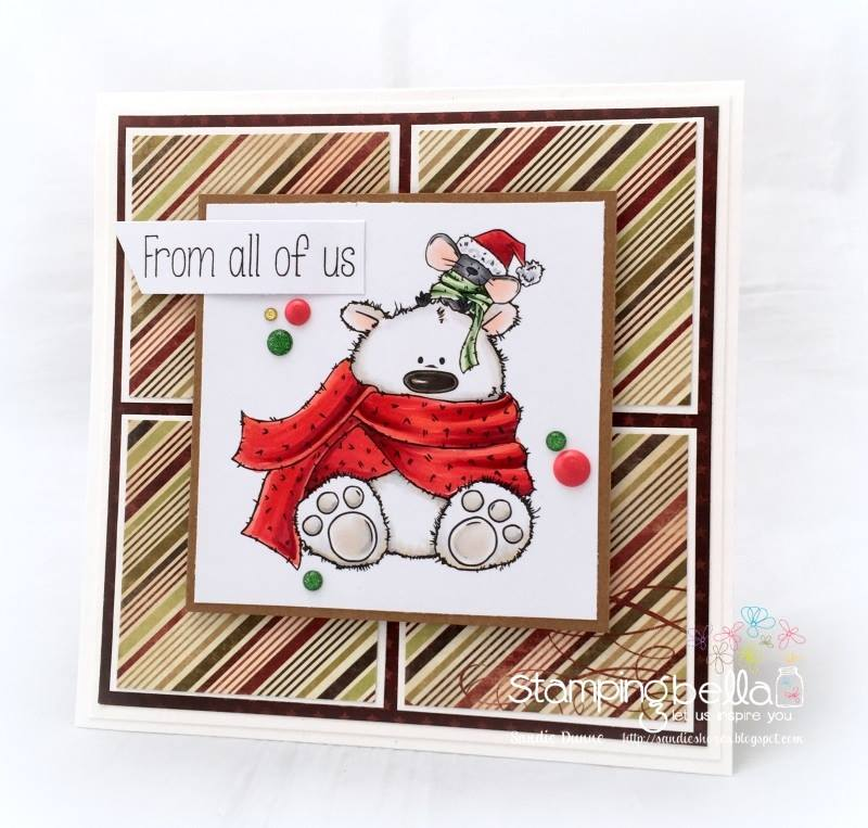 www.stampingbella.com- RUBBER STAMPS used: POLAR BEAR AND MOUSIE STUFFIES, card made by SANDIE DUNNE