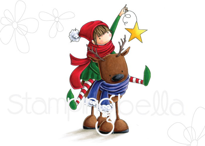 www.stampingbella.com : Rubber stamp called TINY TOWNIE RITA and the REINDEER