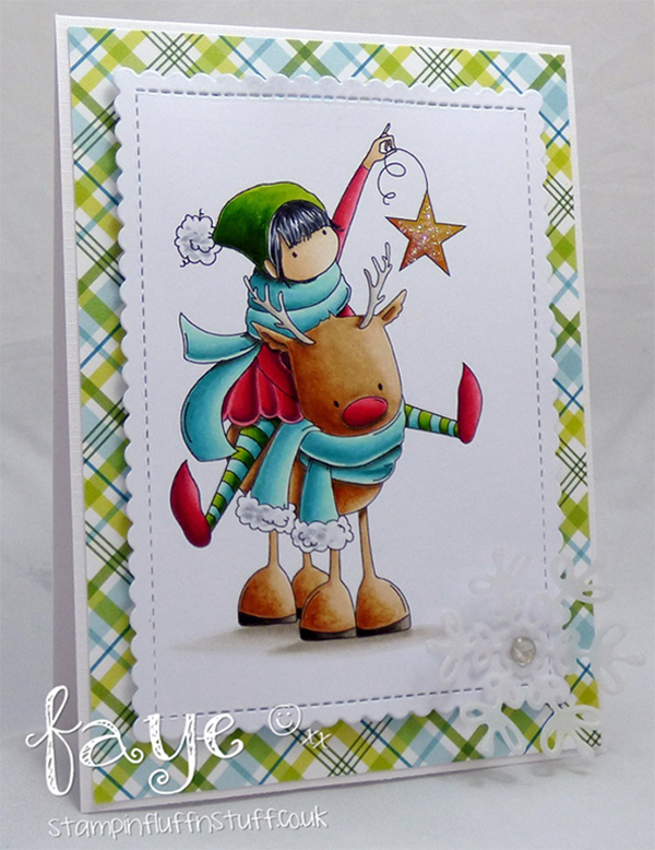 www.stampingbella.com : Rubber stamp called TINY TOWNIE RITA and the REINDEER card by Faye Wynn Jones