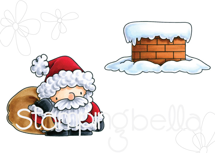 Stamping Bella Rubber stamp: LITTLE BITS SANTA and his CHIMNEY