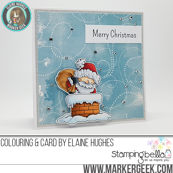 Stamping Bella Rubber stamp: LITTLE BITS ANTA AND HIS CHIMNEY card by Elaine Hughes