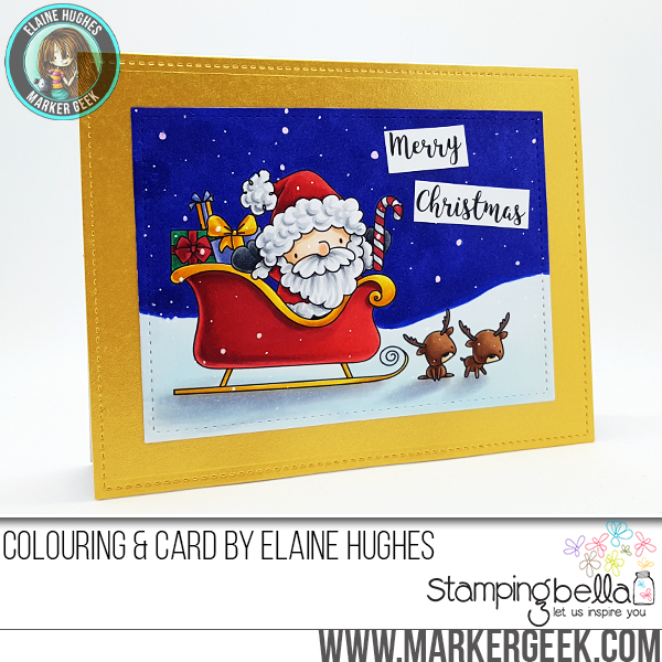 Stamping Bella Rubber stamp: THE LITTLES SANTA AND HIS REINDEER CARD BY Elaine Hughes