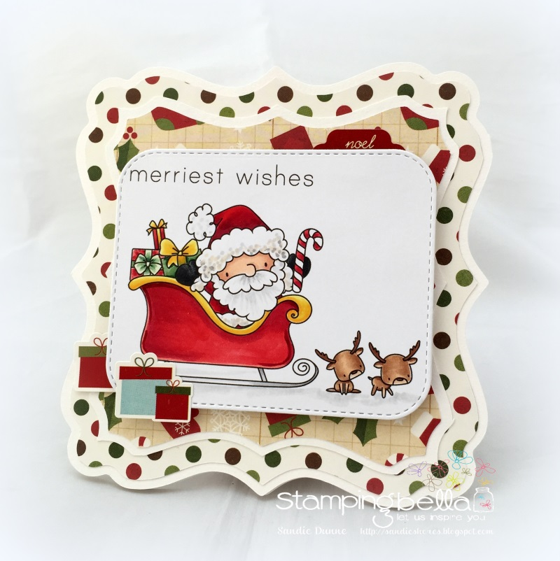 Stamping Bella Rubber stamp: THE LITTLES SANTA AND HIS REINDEER CARD BY SANDIE DUNNE