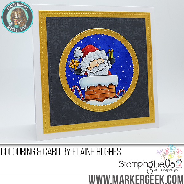 Stamping Bella Rubber stamp: THE LITTLES SANTA HAS ARRIVED Card by Elaine Hughes