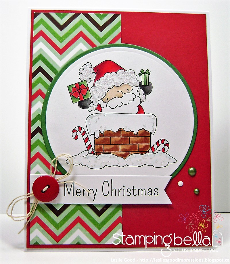 Stamping Bella Rubber stamp: THE LITTLES SANTA HAS ARRIVED Card by Leslie Good